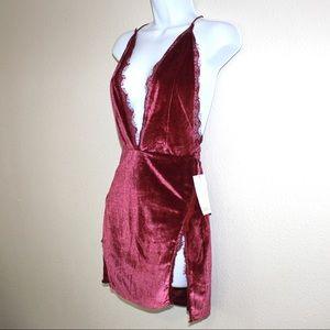 Tobi Sexy VampyVelvet Plunging Backless Mini Dress